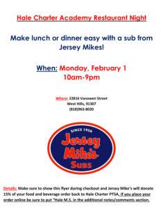Jersey Mike's Restaurant Night