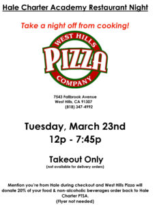 West Hills Pizza Restaurant Fundraiser